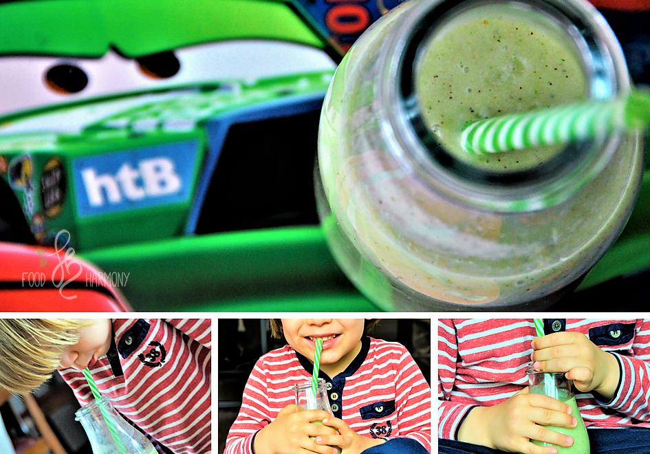 Dzieciaki piją zielone